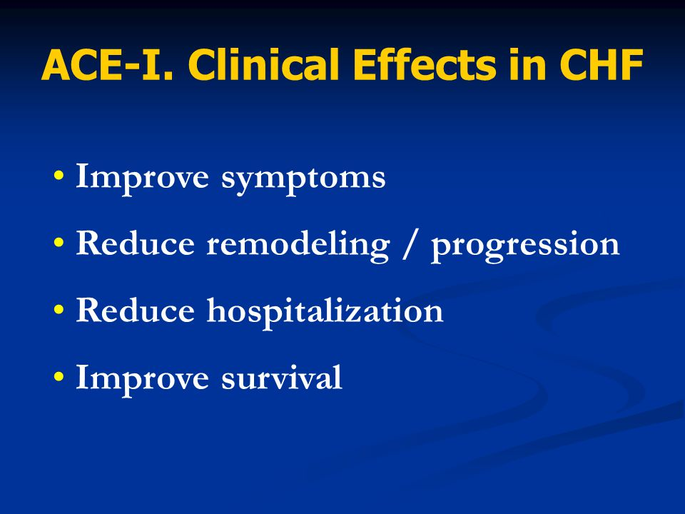 Improve symptoms Reduce remodeling / progression Reduce hospitalization Improve survival ACE-I. Clinical Effects in CHF