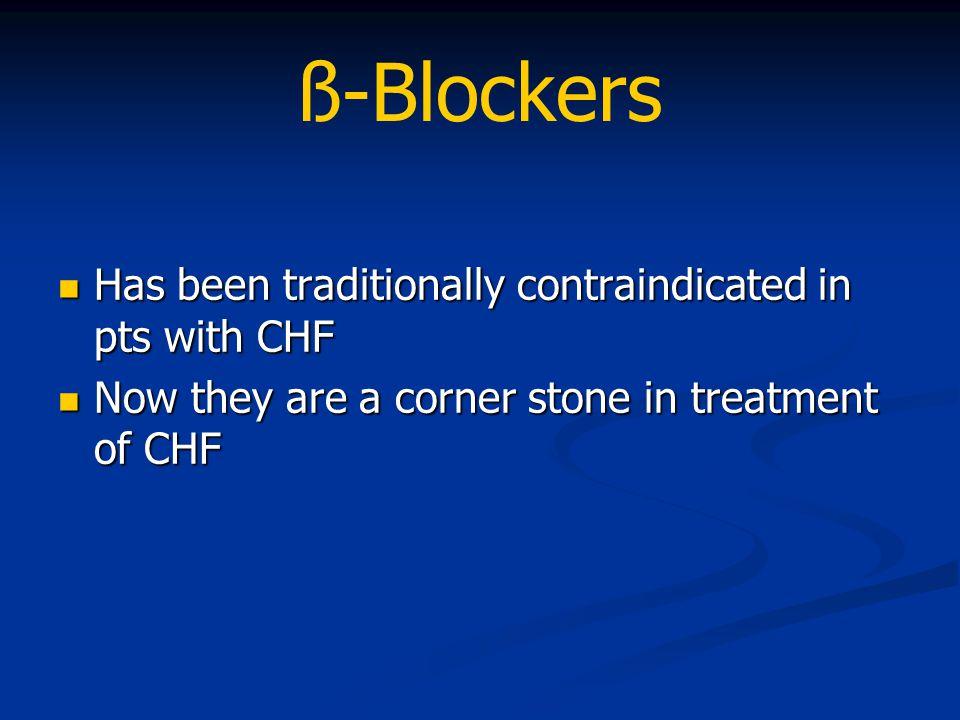 ß-Blockers Has been traditionally contraindicated in pts with CHF Has been traditionally contraindicated in pts with CHF Now they are a corner stone i