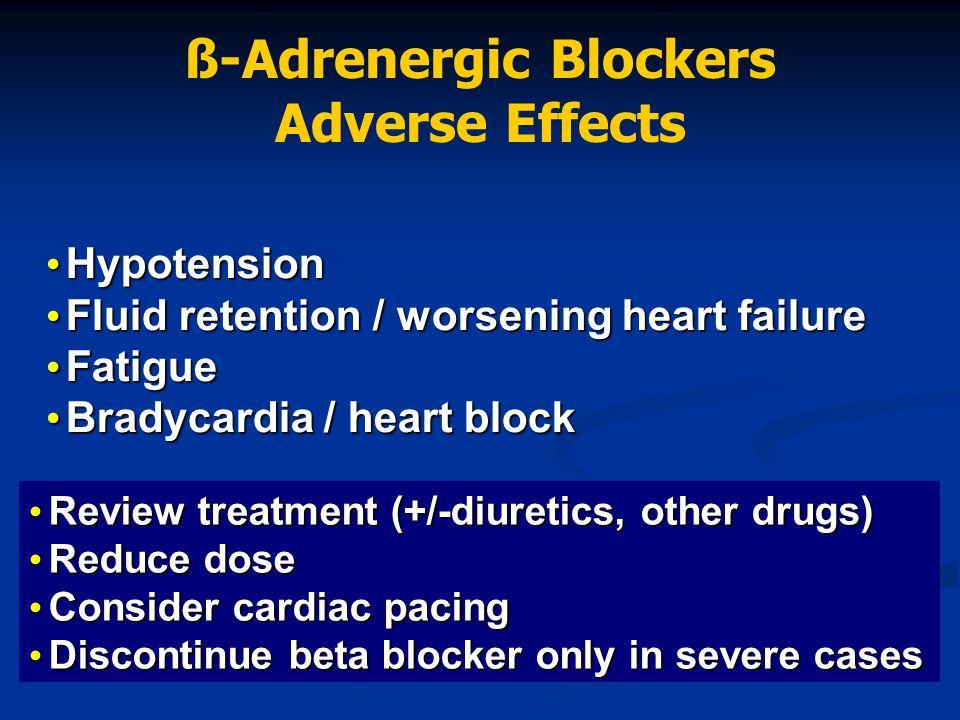 Hypotension Hypotension Fluid retention / worsening heart failure Fluid retention / worsening heart failure Fatigue Fatigue Bradycardia / heart block