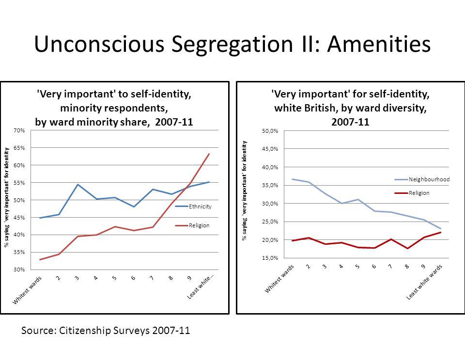 Unconscious Segregation II: Amenities Source: Citizenship Surveys 2007-11