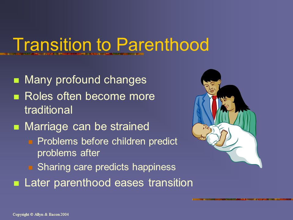 Copyright © Allyn & Bacon 2004 Transition to Parenthood Many profound changes Roles often become more traditional Marriage can be strained Problems be