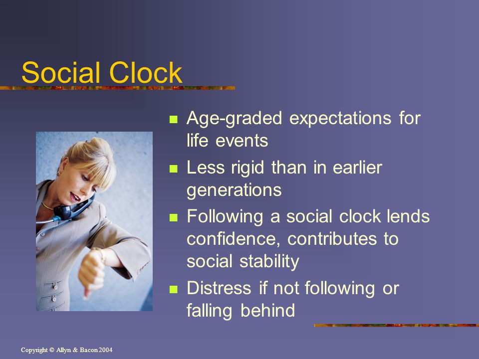 Copyright © Allyn & Bacon 2004 Social Clock Age-graded expectations for life events Less rigid than in earlier generations Following a social clock le