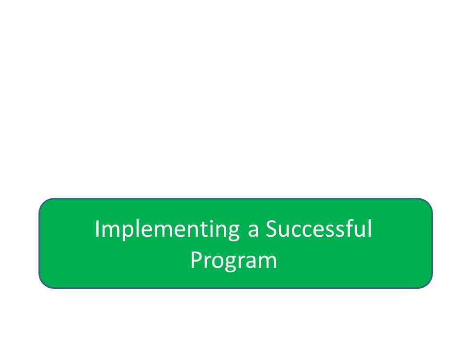 Implementing a Successful Program