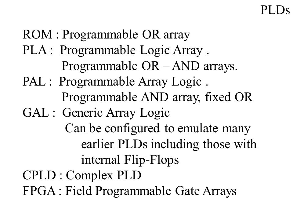 PLDs ROM : Programmable OR array PLA : Programmable Logic Array. Programmable OR – AND arrays. PAL : Programmable Array Logic. Programmable AND array,