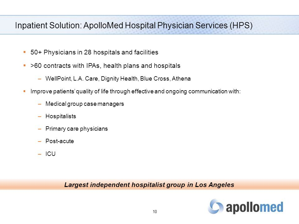 Inpatient Solution: ApolloMed Hospital Physician Services (HPS)  50+ Physicians in 28 hospitals and facilities  >60 contracts with IPAs, health plan