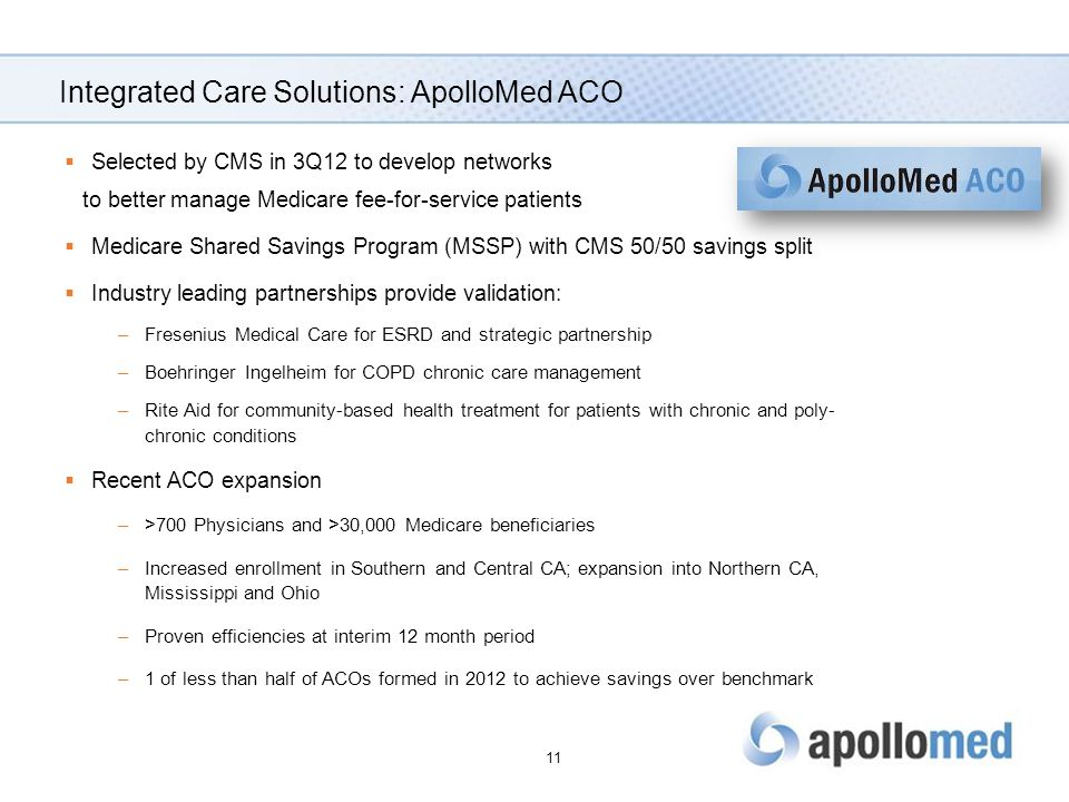 Integrated Care Solutions: ApolloMed ACO  Selected by CMS in 3Q12 to develop networks to better manage Medicare fee-for-service patients  Medicare Shared Savings Program (MSSP) with CMS 50/50 savings split  Industry leading partnerships provide validation: –Fresenius Medical Care for ESRD and strategic partnership –Boehringer Ingelheim for COPD chronic care management –Rite Aid for community-based health treatment for patients with chronic and poly- chronic conditions  Recent ACO expansion –>700 Physicians and >30,000 Medicare beneficiaries –Increased enrollment in Southern and Central CA; expansion into Northern CA, Mississippi and Ohio –Proven efficiencies at interim 12 month period –1 of less than half of ACOs formed in 2012 to achieve savings over benchmark 11