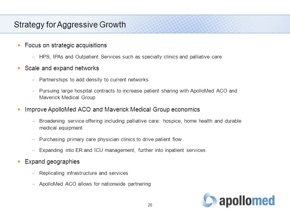 Strategy for Aggressive Growth  Focus on strategic acquisitions –HPS, IPAs and Outpatient Services such as specialty clinics and palliative care  Scale and expand networks –Partnerships to add density to current networks –Pursuing large hospital contracts to increase patient sharing with ApolloMed ACO and Maverick Medical Group  Improve ApolloMed ACO and Maverick Medical Group economics –Broadening service offering including palliative care: hospice, home health and durable medical equipment –Purchasing primary care physician clinics to drive patient flow –Expanding into ER and ICU management, further into inpatient services  Expand geographies –Replicating infrastructure and services –ApolloMed ACO allows for nationwide partnering 20