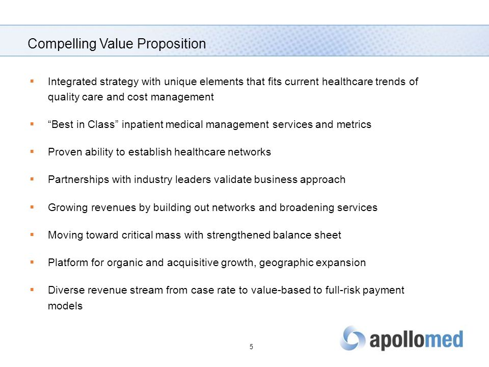 Compelling Value Proposition  Integrated strategy with unique elements that fits current healthcare trends of quality care and cost management  Best in Class inpatient medical management services and metrics  Proven ability to establish healthcare networks  Partnerships with industry leaders validate business approach  Growing revenues by building out networks and broadening services  Moving toward critical mass with strengthened balance sheet  Platform for organic and acquisitive growth, geographic expansion  Diverse revenue stream from case rate to value-based to full-risk payment models 5