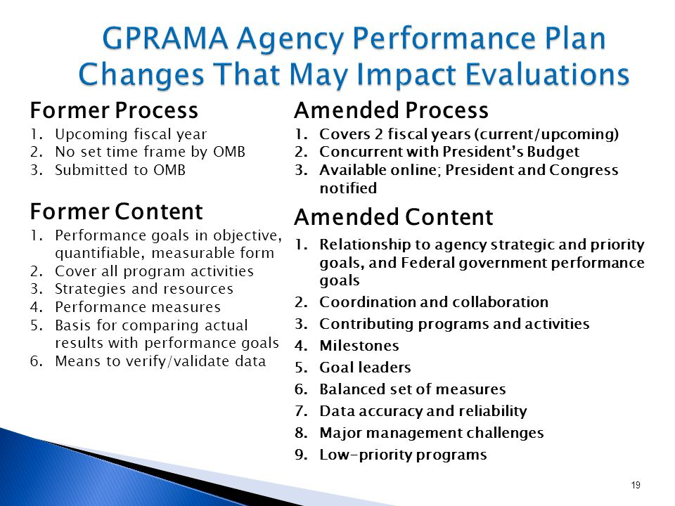 Former Process 1.Upcoming fiscal year 2.No set time frame by OMB 3.Submitted to OMB Amended Process 1.Covers 2 fiscal years (current/upcoming) 2.Concurrent with President's Budget 3.Available online; President and Congress notified 19 Former Content 1.Performance goals in objective, quantifiable, measurable form 2.Cover all program activities 3.Strategies and resources 4.Performance measures 5.Basis for comparing actual results with performance goals 6.Means to verify/validate data Amended Content 1.Relationship to agency strategic and priority goals, and Federal government performance goals 2.Coordination and collaboration 3.Contributing programs and activities 4.Milestones 5.Goal leaders 6.Balanced set of measures 7.Data accuracy and reliability 8.Major management challenges 9.Low-priority programs
