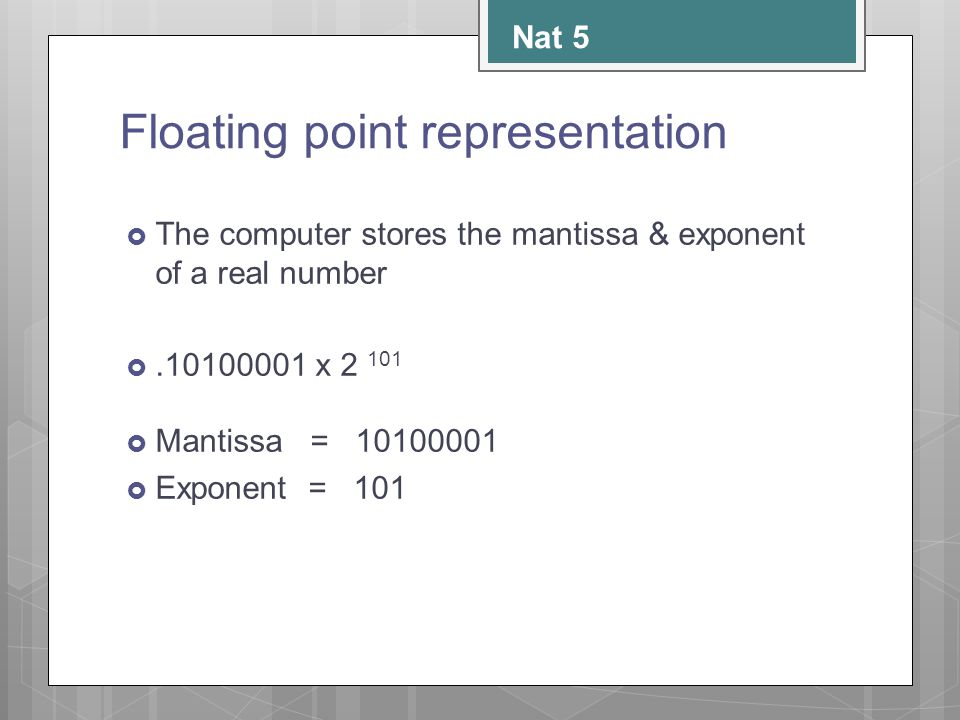 Floating point representation  The computer stores the mantissa & exponent of a real number .10100001 x 2 101  Mantissa = 10100001  Exponent = 101