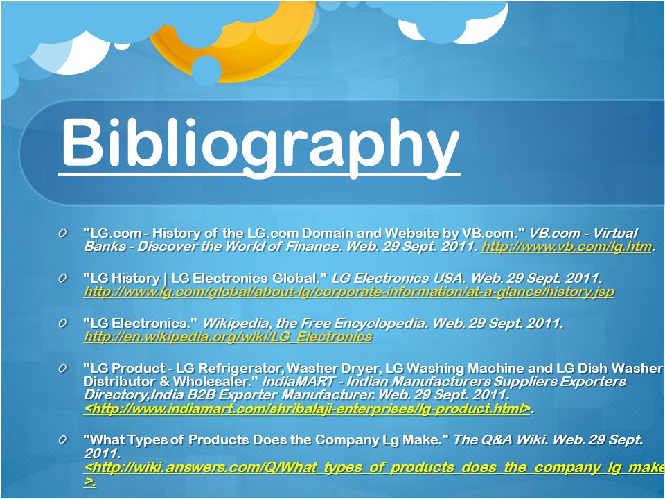 Bibliography LG.com - History of the LG.com Domain and Website by VB.com. VB.com - Virtual Banks - Discover the World of Finance.