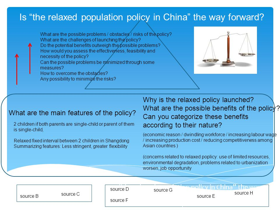 "Is ""the relaxed population policy in China"" the way forward? source B source D source F What are the main features of the policy? Why is the relaxed p"