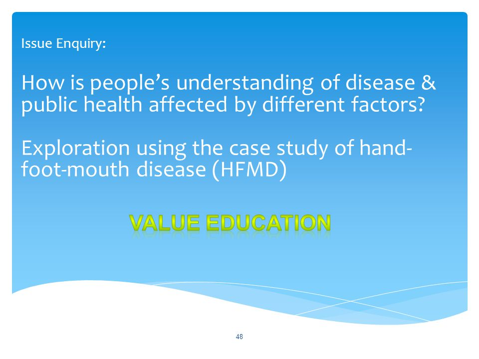 48 Issue Enquiry: How is people's understanding of disease & public health affected by different factors? Exploration using the case study of hand- fo