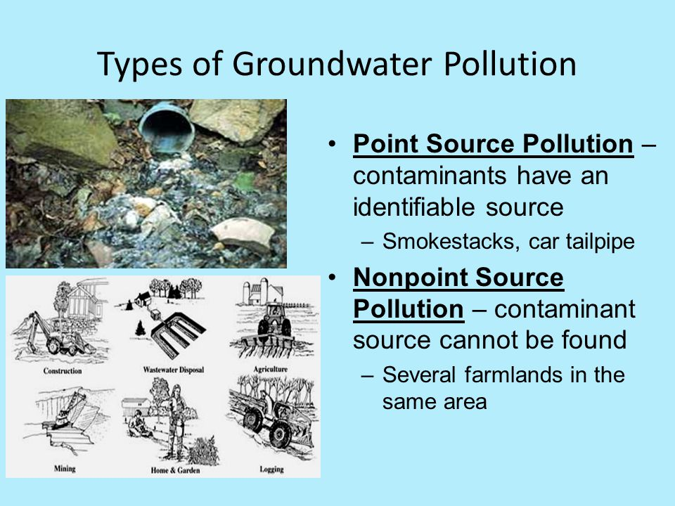 Types of Groundwater Pollution Point Source Pollution – contaminants have an identifiable source –Smokestacks, car tailpipe Nonpoint Source Pollution