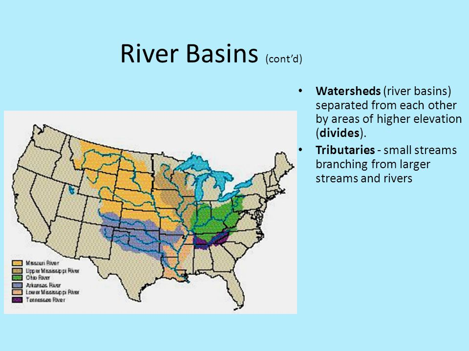 River Basins (cont'd) Watersheds (river basins) separated from each other by areas of higher elevation (divides). Tributaries - small streams branchin