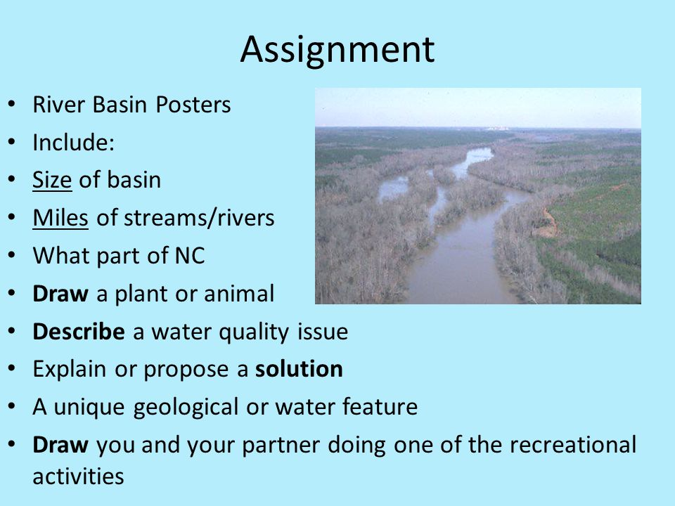 Assignment River Basin Posters Include: Size of basin Miles of streams/rivers What part of NC Draw a plant or animal Describe a water quality issue Ex