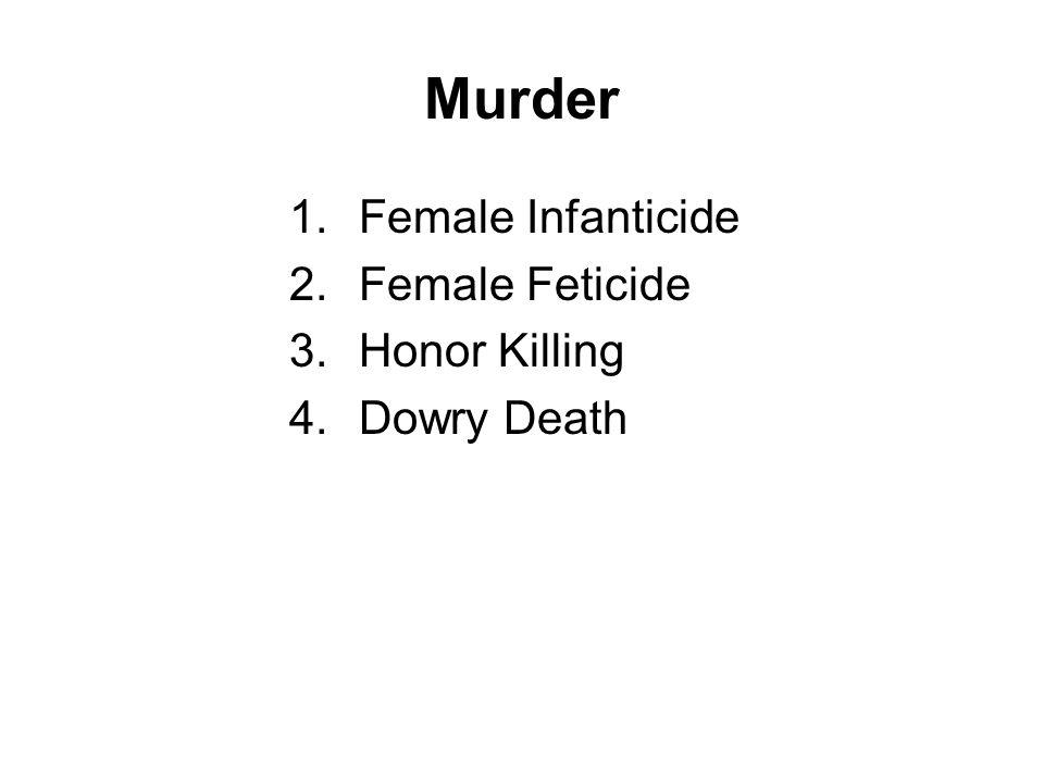 Murder 1.Female Infanticide 2.Female Feticide 3.Honor Killing 4.Dowry Death