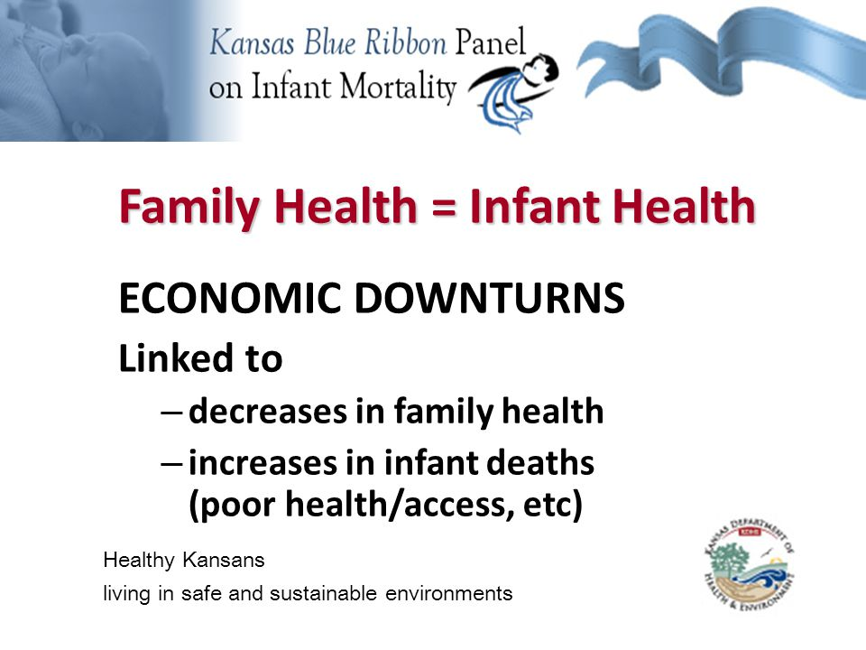 Background Information Family Health = Infant Health ECONOMIC DOWNTURNS Linked to – decreases in family health – increases in infant deaths (poor health/access, etc) Healthy Kansans living in safe and sustainable environments
