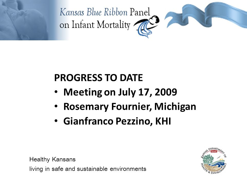 Background Information PROGRESS TO DATE (cont.) Meeting on Aug 27, 2009 Jamie Kim, GIS and trend data Susan McLoughlin, MCH Coalition KC Susan Wilson, Healthy Babies Wichita Healthy Kansans living in safe and sustainable environments