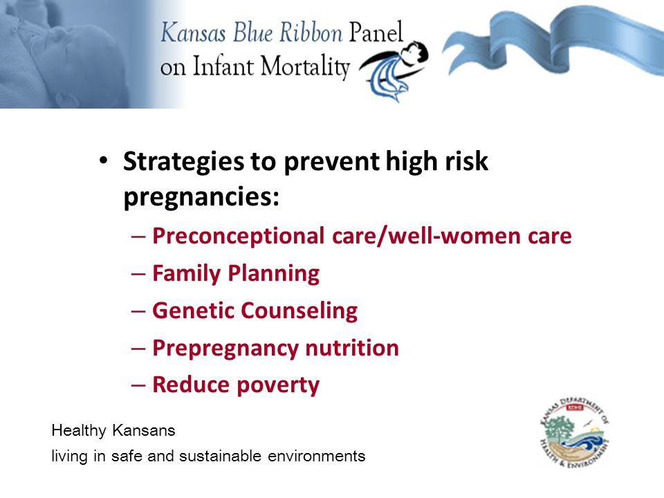 Background Information Healthy Kansans living in safe and sustainable environments Strategies to prevent high risk pregnancies: – Preconceptional care/well-women care – Family Planning – Genetic Counseling – Prepregnancy nutrition – Reduce poverty