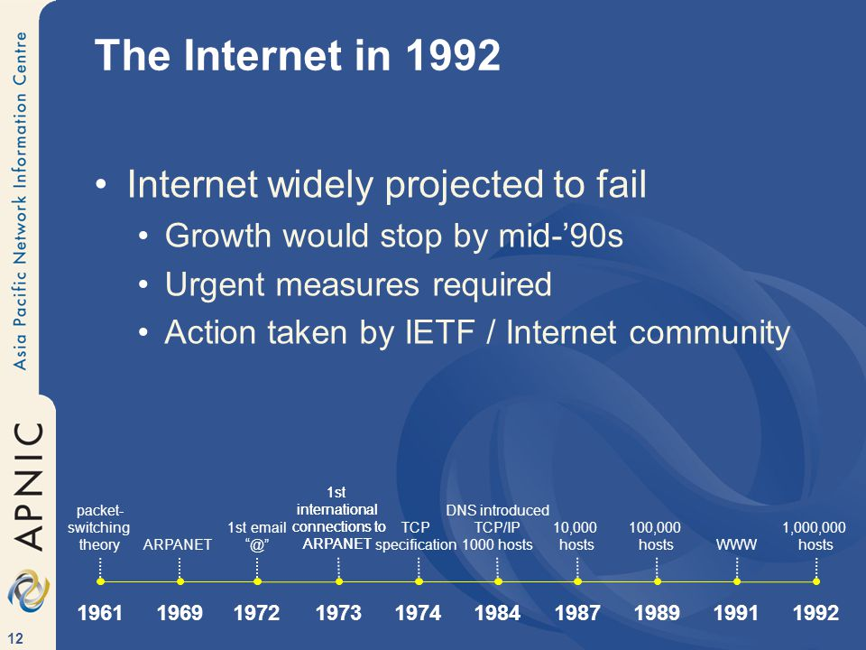 12 The Internet in 1992 Internet widely projected to fail Growth would stop by mid-'90s Urgent measures required Action taken by IETF / Internet community 1st international connections to ARPANET ARPANET 1st email @ 1972 1969 1st international connections to ARPANET 1973 TCP specification 1974 DNS introduced TCP/IP 1000 hosts 1984 1987 10,000 hosts 1989 100,000 hosts 1991 WWW 1992 1,000,000 hosts packet- switching theory 1961