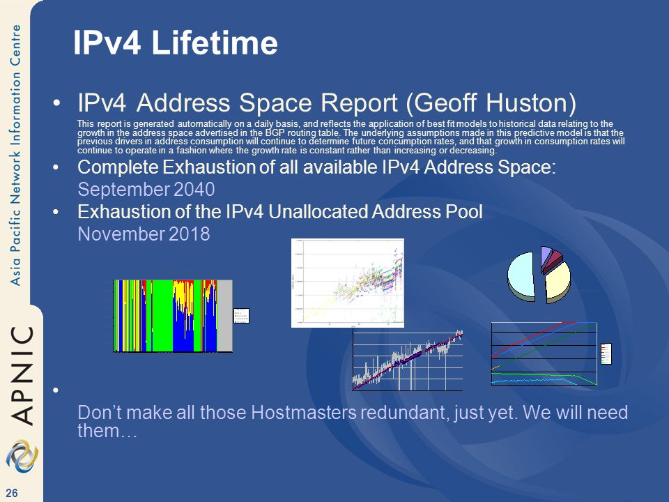 26 IPv4 Address Space Report (Geoff Huston) This report is generated automatically on a daily basis, and reflects the application of best fit models to historical data relating to the growth in the address space advertised in the BGP routing table.