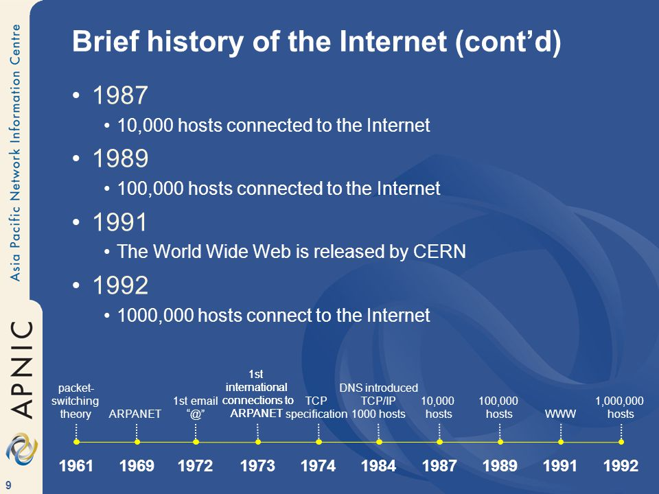 9 Brief history of the Internet (cont'd) 1987 10,000 hosts connected to the Internet 1989 100,000 hosts connected to the Internet 1991 The World Wide Web is released by CERN 1992 1000,000 hosts connect to the Internet 1st international connections to ARPANET ARPANET 1st email @ 1972 1969 1st international connections to ARPANET 1973 TCP specification 1974 DNS introduced TCP/IP 1000 hosts 1984 1987 10,000 hosts 1989 100,000 hosts 1991 WWW 1992 1,000,000 hosts packet- switching theory 1961