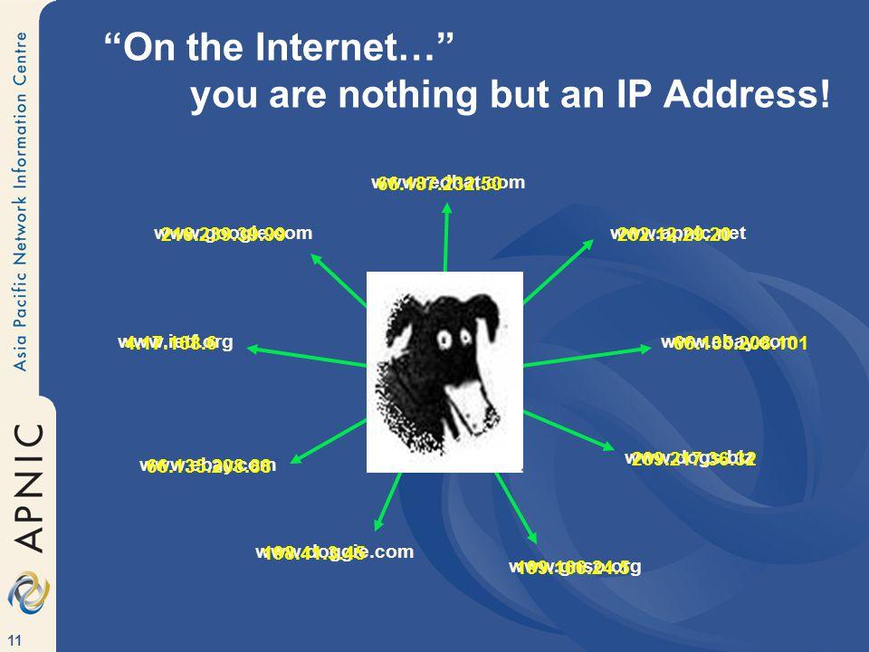 11 www.google.com www.redhat.com www.ebay.com www.dogs.biz www.apnic.net www.gnso.org www.ebay.com www.doggie.com www.ietf.org 216.239.39.99 66.187.232.50 66.135.208.101 209.217.36.32 202.12.29.20 199.166.24.5 66.135.208.88 198.41.3.45 4.17.168.6 On the Internet… you are nothing but an IP Address.