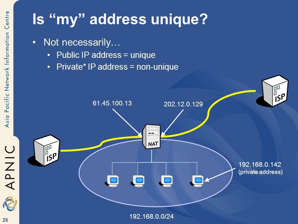 26 Not necessarily… Public IP address = unique Private* IP address = non-unique Is my address unique.