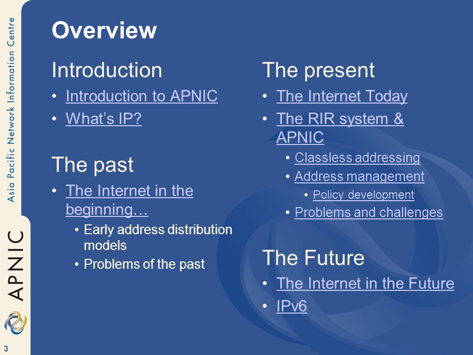 3 Overview Introduction Introduction to APNIC What's IP.