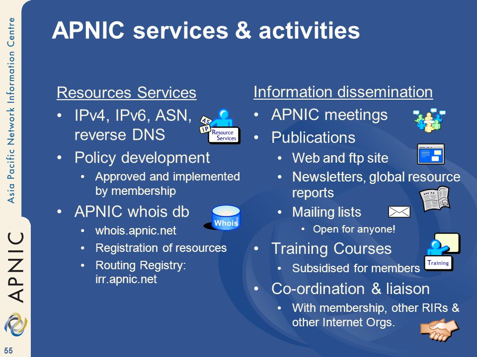 55 APNIC services & activities Resources Services IPv4, IPv6, ASN, reverse DNS Policy development Approved and implemented by membership APNIC whois db whois.apnic.net Registration of resources Routing Registry: irr.apnic.net Information dissemination APNIC meetings Publications Web and ftp site Newsletters, global resource reports Mailing lists Open for anyone.