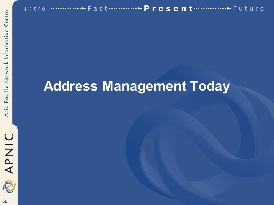 66 Address Management Today I n t r o P a s t P r e s e n t F u t u r e