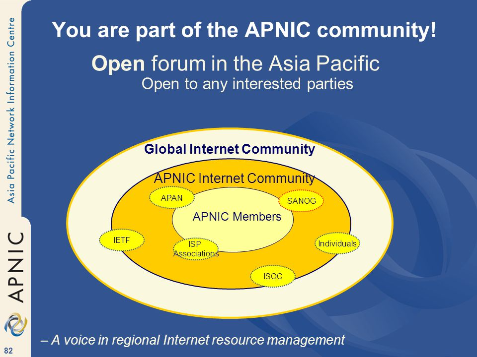 82 You are part of the APNIC community.