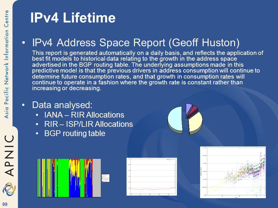 99 IPv4 Address Space Report (Geoff Huston) This report is generated automatically on a daily basis, and reflects the application of best fit models to historical data relating to the growth in the address space advertised in the BGP routing table.