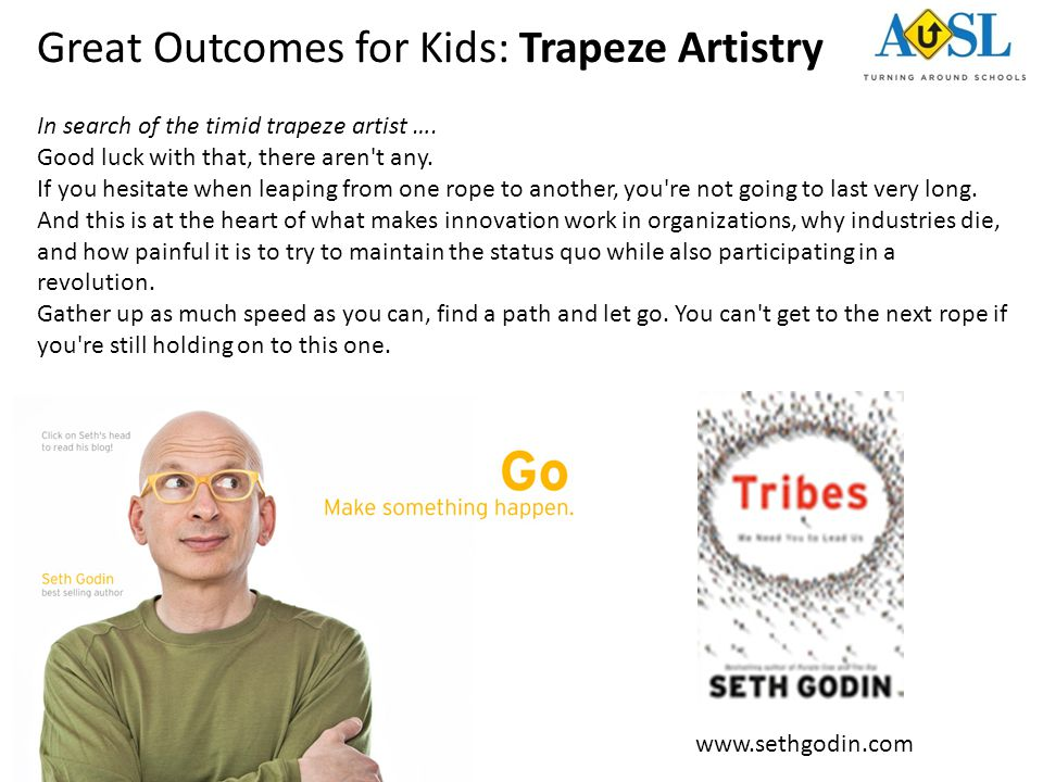 Great Outcomes for Kids: Trapeze Artistry In search of the timid trapeze artist …. Good luck with that, there aren't any. If you hesitate when leaping