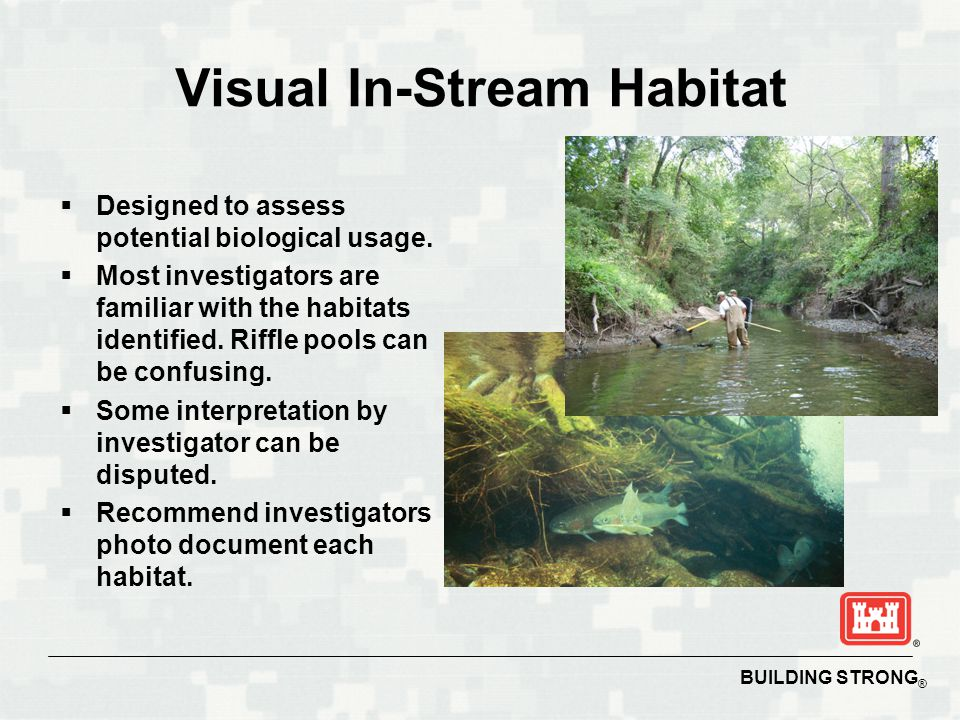 BUILDING STRONG ® Visual In-Stream Habitat  Designed to assess potential biological usage.