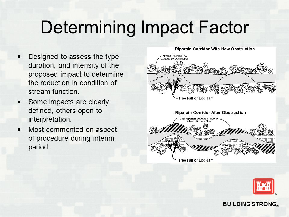 BUILDING STRONG ® Determining Impact Factor  Designed to assess the type, duration, and intensity of the proposed impact to determine the reduction in condition of stream function.