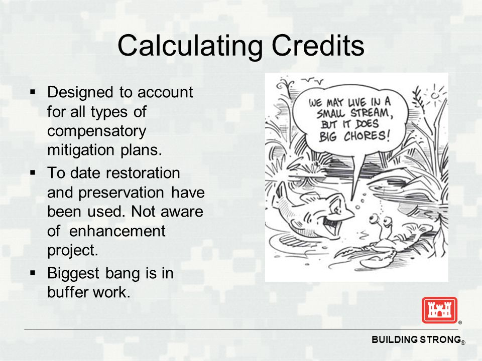 BUILDING STRONG ® Calculating Credits  Designed to account for all types of compensatory mitigation plans.