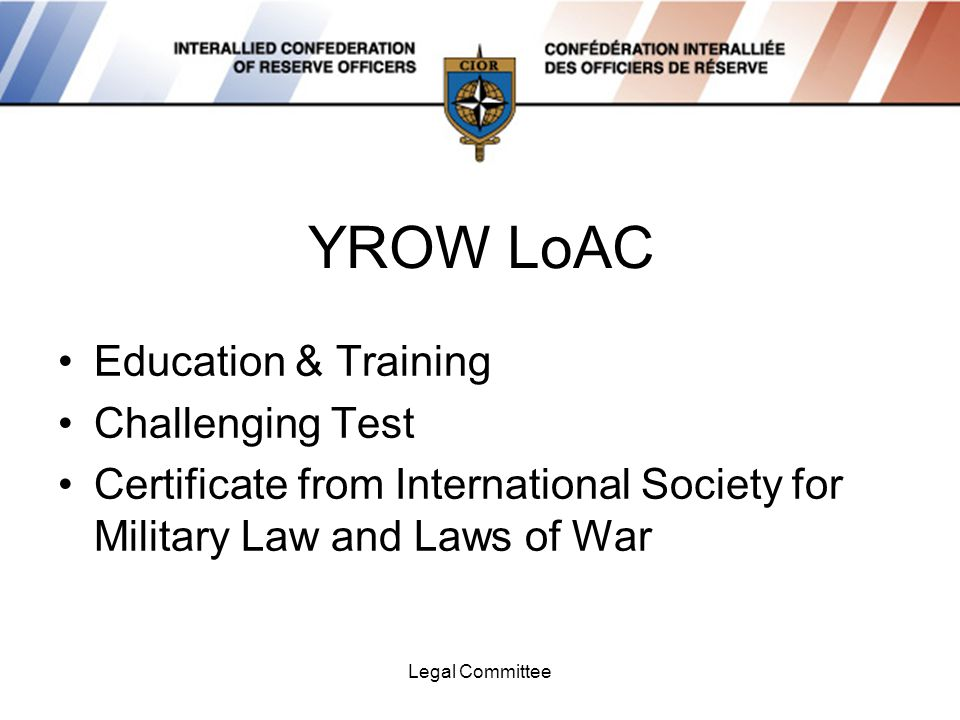 Legal Committee YROW LoAC Education & Training Challenging Test Certificate from International Society for Military Law and Laws of War