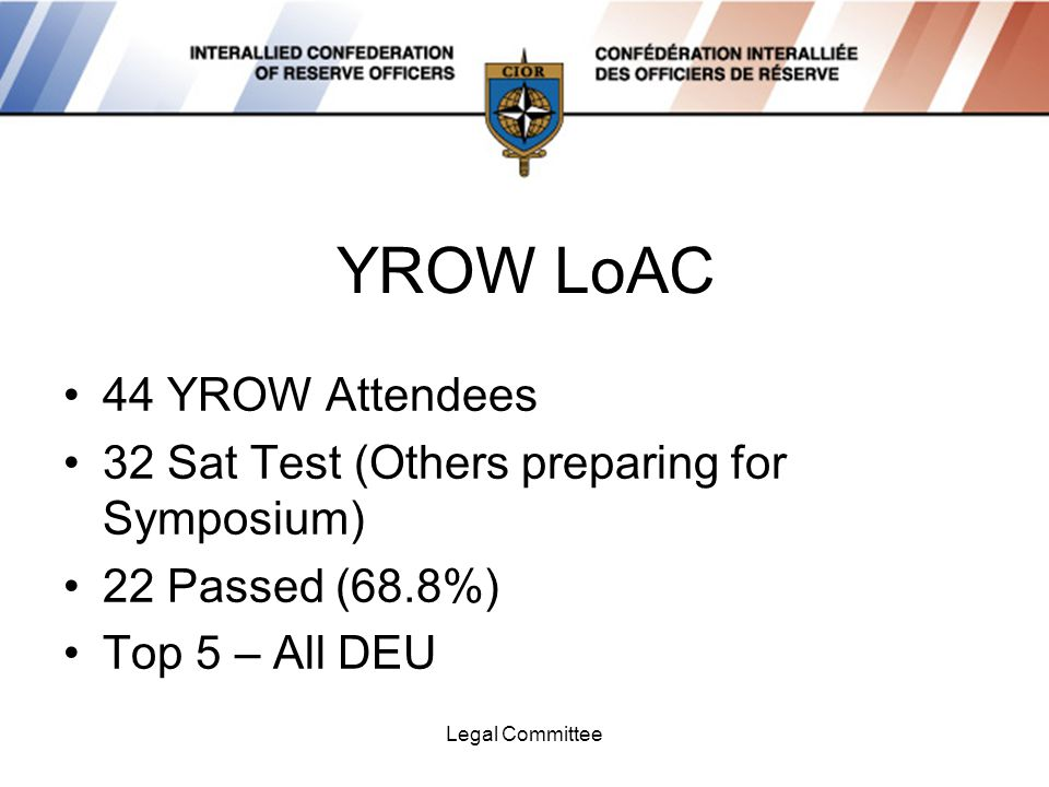 Legal Committee YROW LoAC 44 YROW Attendees 32 Sat Test (Others preparing for Symposium) 22 Passed (68.8%) Top 5 – All DEU