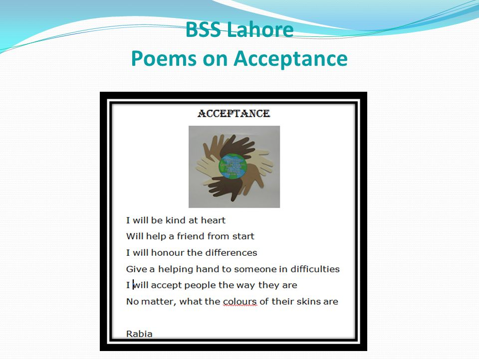 BSS Lahore Poems on Acceptance