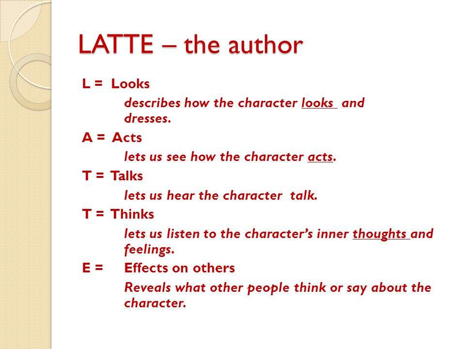 L = Looks describes how the character looks and dresses. A = Acts lets us see how the character acts. T = Talks lets us hear the character talk. T = T