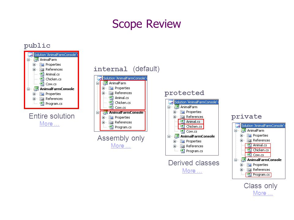 Scope Review public internal (default) protected private Entire solution Assembly only Derived classes Class only More …