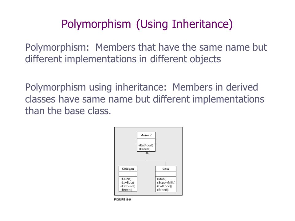 Polymorphism (Using Inheritance) Polymorphism: Members that have the same name but different implementations in different objects Polymorphism using i