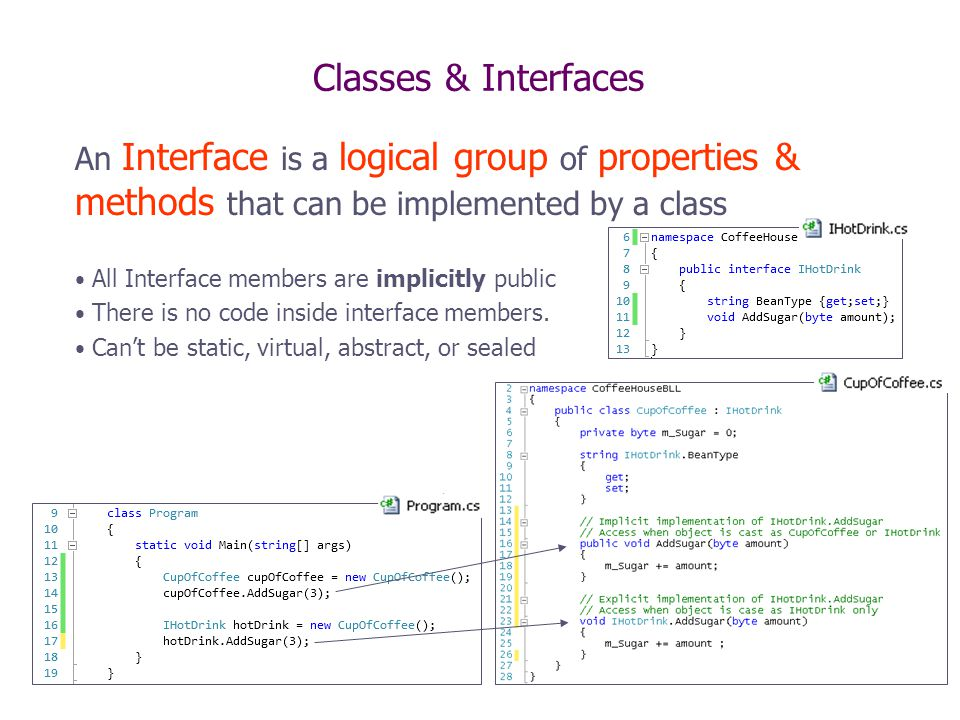 Classes & Interfaces An Interface is a logical group of properties & methods that can be implemented by a class All Interface members are implicitly p