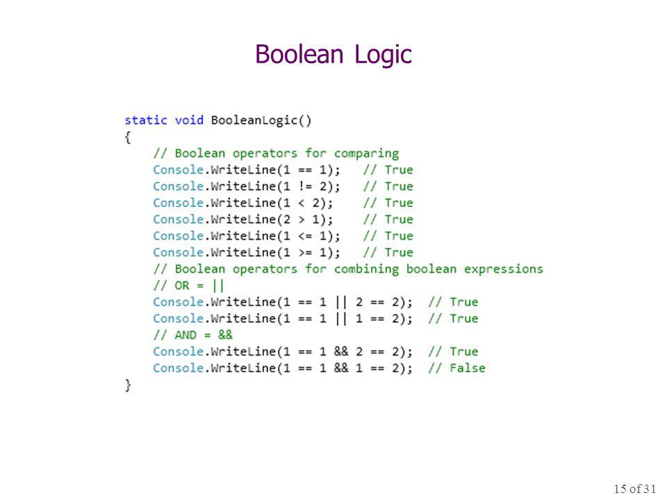 15 of 31 Boolean Logic