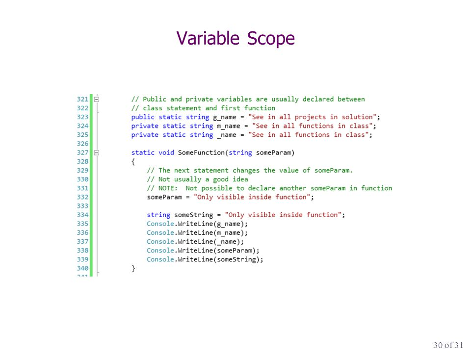 30 of 31 Variable Scope
