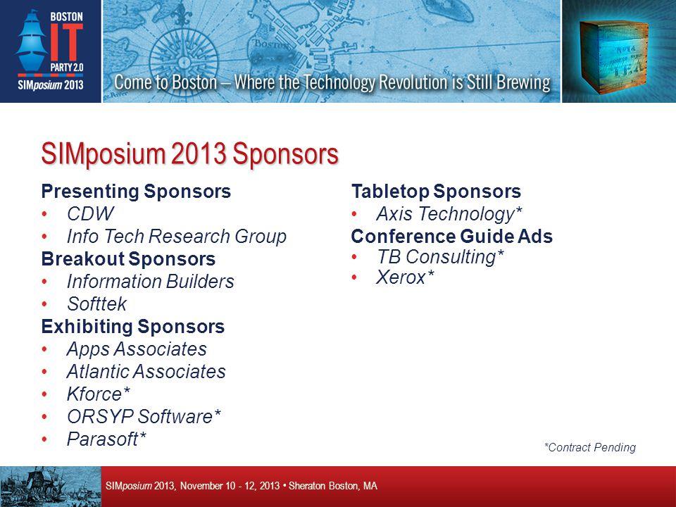 SIM posium 2013, November 10 - 12, 2013 Sheraton Boston, MA SIM posium 2014 – Denver, Colorado