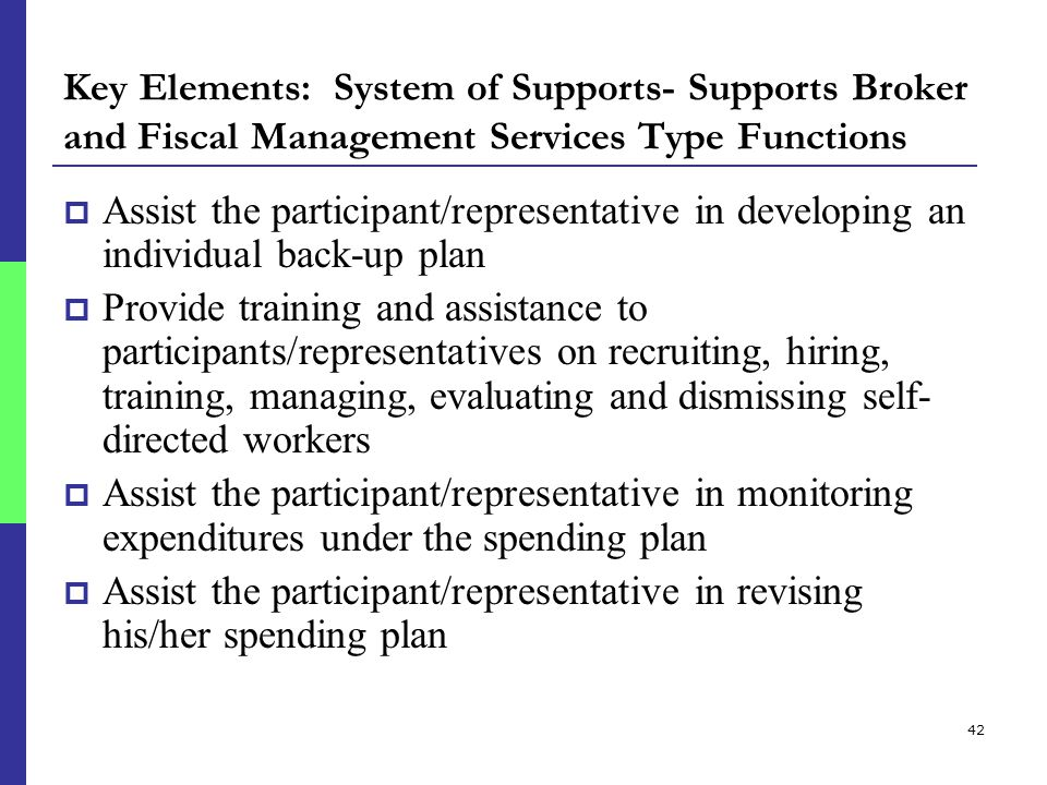 42 Key Elements: System of Supports- Supports Broker and Fiscal Management Services Type Functions  Assist the participant/representative in developing an individual back-up plan  Provide training and assistance to participants/representatives on recruiting, hiring, training, managing, evaluating and dismissing self- directed workers  Assist the participant/representative in monitoring expenditures under the spending plan  Assist the participant/representative in revising his/her spending plan