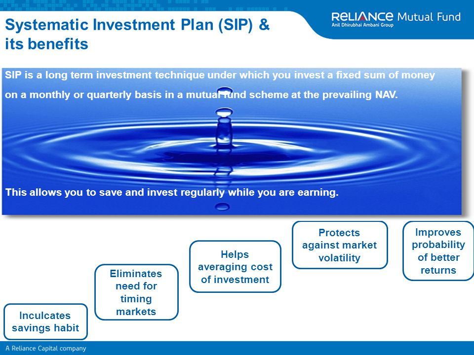 Systematic Investment Plan (SIP) & its benefits Inculcates savings habit Eliminates need for timing markets Helps averaging cost of investment Protect